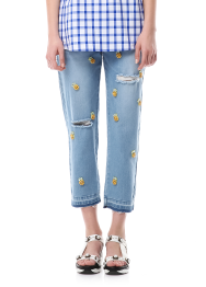 Blue hawaii denim pants