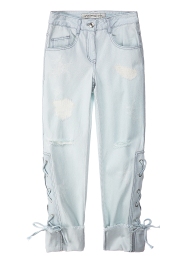 Laceup baggy denim pants