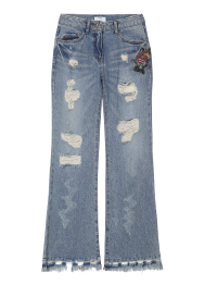 Wappen denim pants