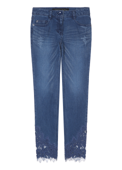 Lace patch denim pants