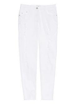 White skini denim pants