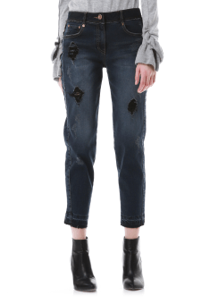 Patch baggy denim pants