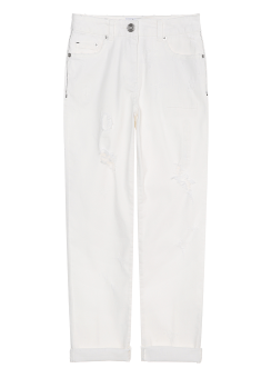 White embroidery denim pants