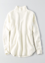 [Women] 7382 Waffle mix mock neck pullover