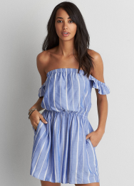[Women] Striped off the shoulder ruffle sleeve