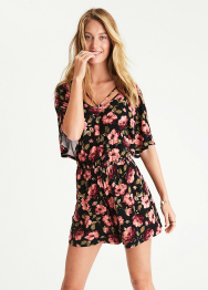 [Women] 1834  Floral strappy back knit flowy romper