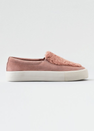 [Women] Fur vamp slip on sneaker