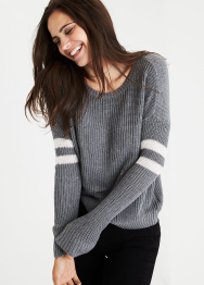 [Women] Arm stripe shaker pullover