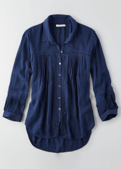 AEO Pintucked Button Down Shirt