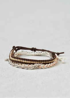 [Women] AEO Embellished black & white bracelet trio