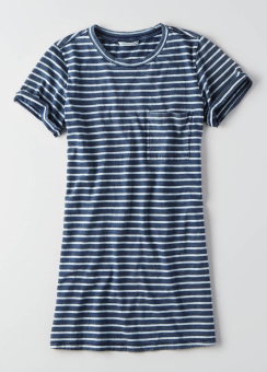 [Women] 9991 Intl indigo roll slv tee dress