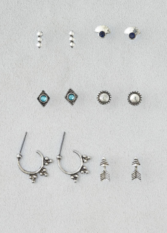 [Women] Silver boho 6-pack ear set