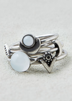 [Women] White moonstone ring 5-pack