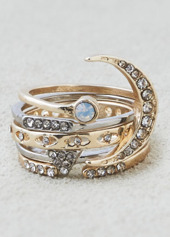 [Women] CZ Stones & moon ring 5-pack