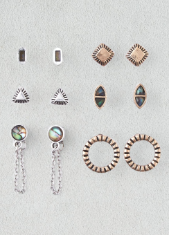 [Women] Abalone stones & etched studs 6-pack ear set