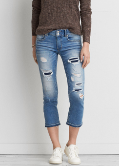 [Women] 9787 Destroyed med wash release hem artist crop