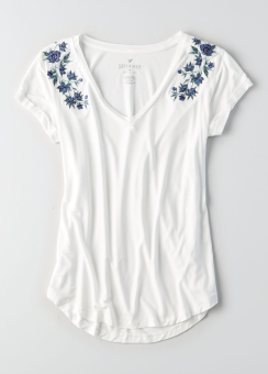 [Women] 5146 Fave vneck embroidery tee