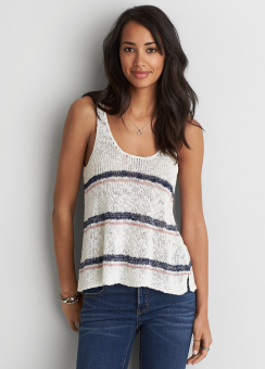 [Women] 7566 Scoop back stripe tank
