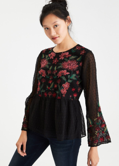 [Women] 7870 All over embroidered long sleeve