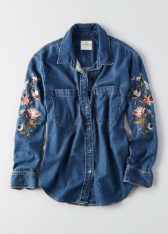 [Women] Core oversize denim floral sleeve