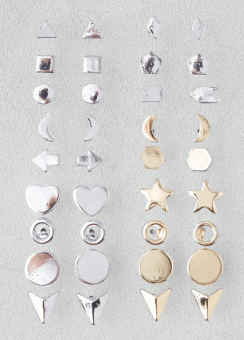 [Women] Shiny mixed shapes 18-pack ear set