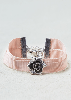 [Women] Double ribbon & rose charm bracelet