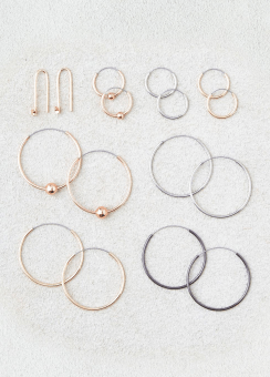 [Women] Mixed metal multi size hoop 8-pack ear set