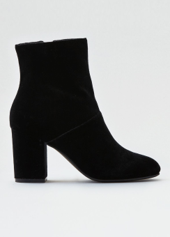[Women] Velvet high covered heel bootie