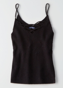 [Women] 7888 Lace up rib tank