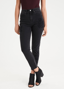 [Women] 1251 New intl mom jean black emb