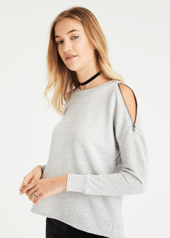 [Women] Zipper cold shoulder crew