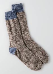 [Men] Classic - grey w/blue detail socks