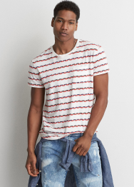 [Men] 8741 Jacquard stripe long line tee