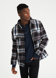 [Men] Faux sherpa lined overshirt