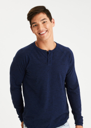 [Men] 9067 LS Colorblocked flex henley