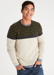 [Men] Chest pattern crew