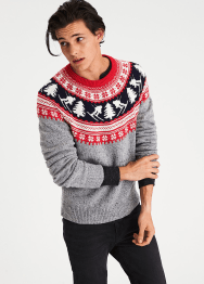 [Men] Yoke fair isle crew