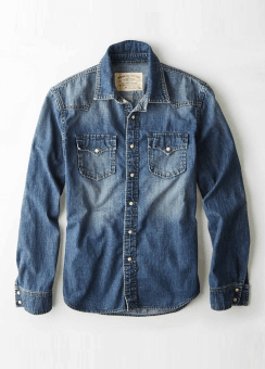 [Men] AEO Vintage Denim Western Shirt