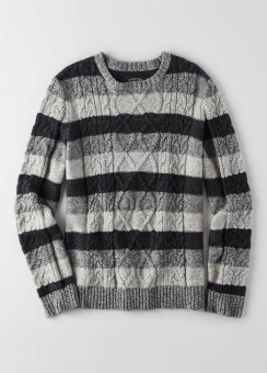 [Men] striped aran cable crew-neck sweater
