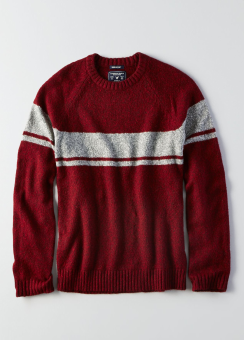 [Men] Chest stripe crew sweater