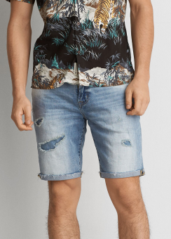 [Men] Medium wash denim short