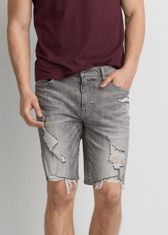 [Men] Grey wash denim short