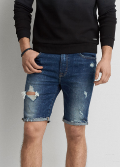 [Men] Dark acid wash denim short
