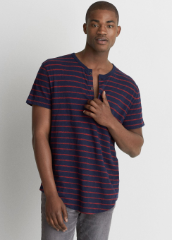 [Men] 8740 Jacquard striped henley