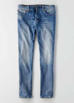 [Men] Slim straight medium wash