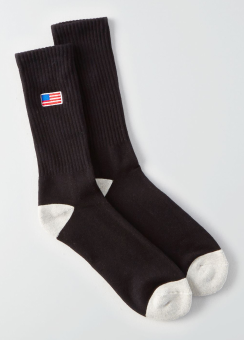 [Men] Black little flag sport socks
