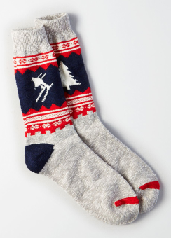 [Men] Grey skier boot sock