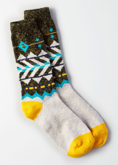 [Men] Olive pattern boot sock