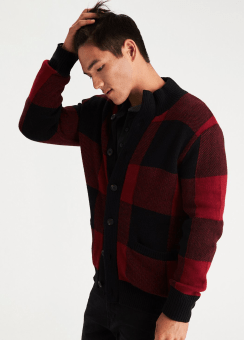 [Men] Full button mock cardigan