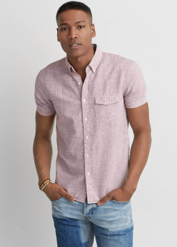 [Men] 9238 Ss linen cotton horizontal microstripe shirts